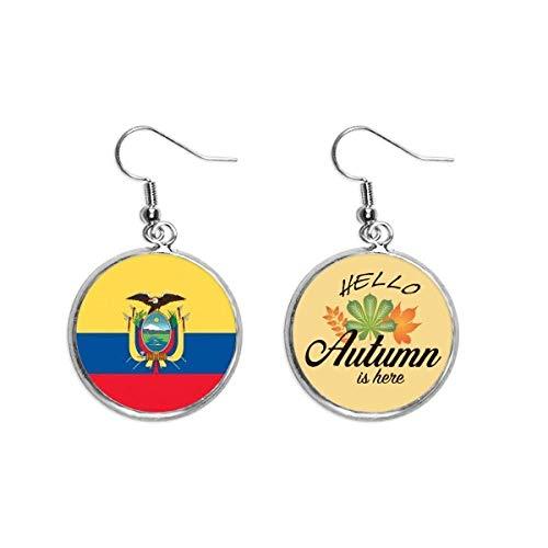 Ecuador National Flag South America Land - Pendientes, diseño de hojas de otoño
