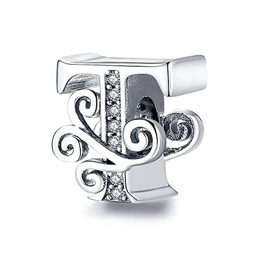 Auténtico Pandora 925 Colgante De Plata Esterlina Diy Nombre Letra Alfabeto T Charm Bead Fit Pulseras Originales Fabricación De Joyas