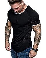 Mens Casual Athletic Shirts Fashion Solid Color T-Shirt Slim Fit Sport Tops Black XL