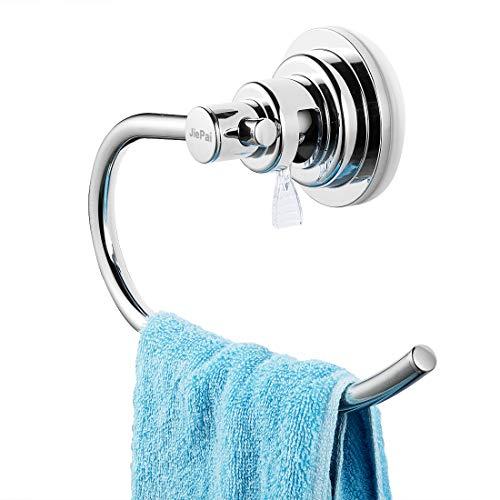 JiePai Vacuum Suction Towel Holder,Modern Shower Towel Ring,Washcloth Hand Towel Holder for Bathroom Kitchen Drill Free,Chrome