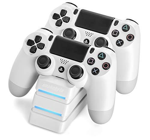 snakebyte PS4 TWIN:CHARGE 4 – weiß – Ladegerät/Ladestation für PlayStation 4/ PS4 Slim / PS4 Pro Dualshock 4 Controller, Docking Station für 2 Gamepads inkl. MICRO USB Kabel, LED-Ladezustandanzeige