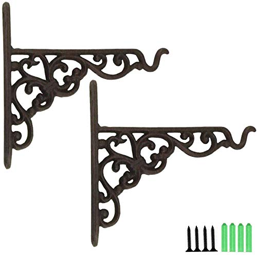 TIHOOD 2PCS Heavy Duty Cast Iron Hanging Basket Vintage Wall Hook with Screws/Decorative Plant Hanger for Bird Feeders, Planters, Lanterns, Wind Chimes, As Wall Brackets and More!