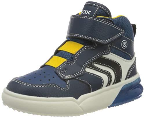 Geox Boys J GRAYJAY Boy D Sneaker, Navy/Yellow,33 EU