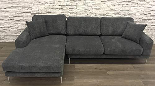 Sedexx Trendline Ecksofa mit Recamiere 280x105-163x86cm 2tlg. Couch Sofa Polyester dunkelgrau