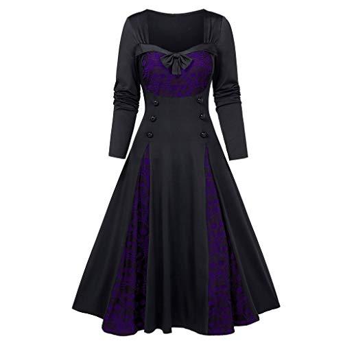 serliyKleid Halloween Frauen Plus Size Skull Lace Insert Mock Button Bowknot Kleid Retro Gedruckt Lang Ärmel Empire Schärpen Knielang Ballkleid