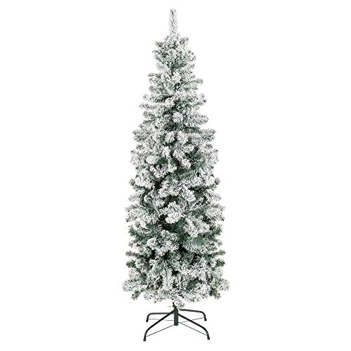 Best Choice Products 6ft Snow Flocked Artificial Pencil Christmas Tree Holiday Decoration w/Metal Stand