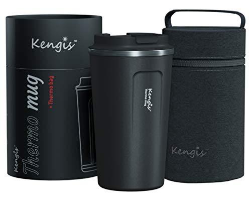 Kengis Thermo to Go Kaffeebecher | Wiederverwendbare Thermobecher mit Auslaufsicherem Deckel | Edelstahl Doppelwandig Isolationsdesign für Heiße & Kalte Getränke(510ml / 17oz, Dunkelgrau)