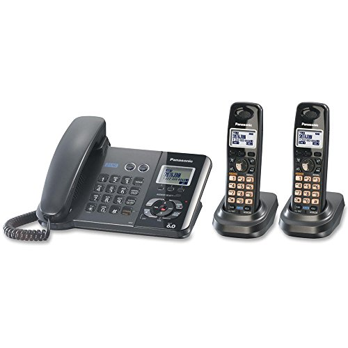 Panasonic KX-TG9392T 2-Line Corded/Cordless Phone with Answering System, Metallic Black, 2 Handsets