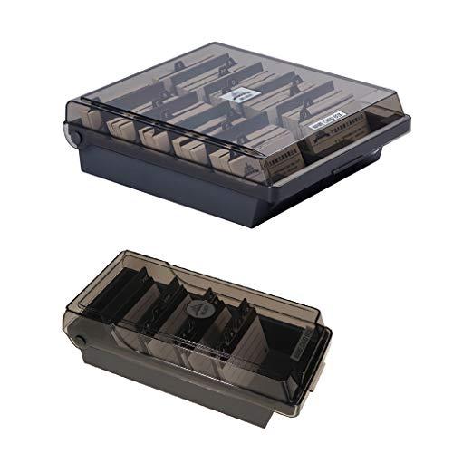Baoblaze 2 Tailles Porte Carte Boîte Rangement Note à Couvercle avec Compartiments et Intercalaires Lieu Commercial