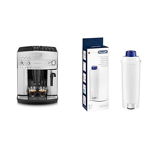 De'Longhi Magnifica ESAM 3200.S Kaffeevollautomat mit Milchaufschäumdüse für Cappuccino, großer 1,8 Liter, silber & Original Wasserfilter DLSC002 - Zubehör für De'Longhi Kaffeevollautomaten, weiß