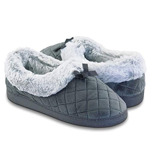 Zapatillas difusas de felpa con forro de espuma viscoelástica para mujer, cómodas, cálidas, antideslizantes, para interiores y exteriores, color gris