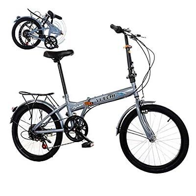 BRADEM 20in 7 Speed Mini Bike Folding Bikes for Men Women Adult BMX Bikes Lightweight Urban Commuters (Gray)