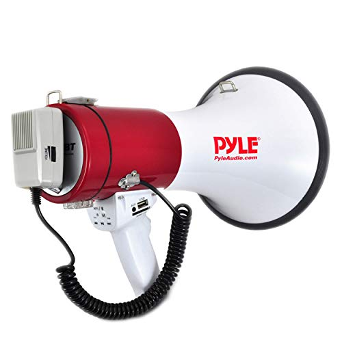 Portable Megaphone Speaker PA Bullhorn - Built-in Siren, 50W Adjustable Volume Control & 1200 Yard Range - Ideal for Any Outdoor Sports, Cheerleading Fans & Coaches or for Safety Drills - Pyle PMP52BT