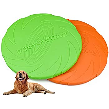 Demason 2 Pcs Frisbee Jouet pour Chiens, 18 cm / 7 inch Disque à Lancer en Caoutchouc Résistant, Dressage de Chiens pour Extérieur (Vert, Orange)