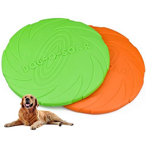 Demason Hundefrisbee 2 Stück Frisbee aus Kautschuk Intelligenzspielzeug Naturkautschuk Ø 18cm Wasserspielzeug Schwimmspielzeug für kleine und mittelgroße Hunde (Grün Orange)