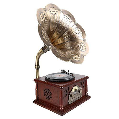 LVSSY-Tocadiscos de Vinilo Vintage Tocadiscos Bluetooth Madera Maciza Antigua Reproductor de Discos de Vinilo Lpreproductor de CD De Múltiples Funciones Radio Bluetooth