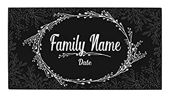 Custom Wedding Gifts Text & Date Est Personalized Welcome Mat Personalized Doormat Black & White