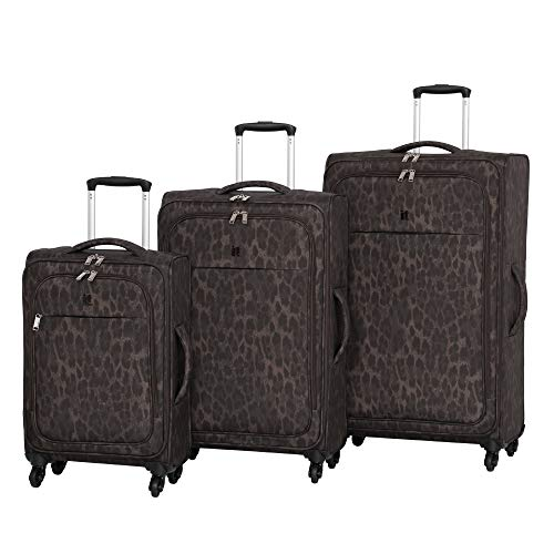 it luggage 3 Piece Set of Rosette 4 Wheel Lightweight Soft Suitcases Suitcase, 80 cm, 260 liters,Leopard Print