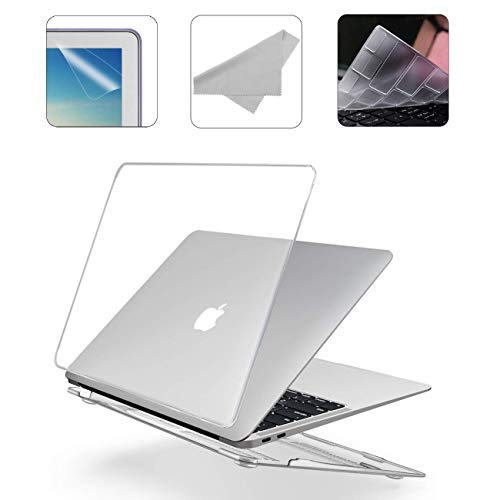 2020 New 13 Inch MacBook Pro M1 A2338 A2251 A2289 A2159 A1989 A1706 Hard Case Pack with Plastic Hard Shell, Keyboard Cover, Screen Protector & Cleaning Cloth WGS58 - Crystal Clear