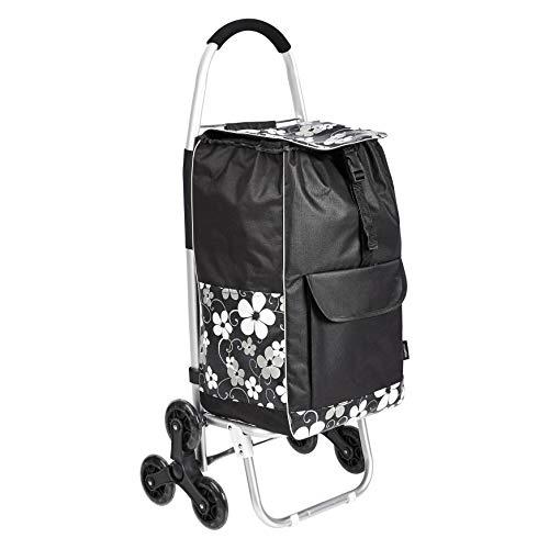 Amazon Basics - Carrito de la compra con 6 ruedas y asas de aluminio, 50 litros, flores negras