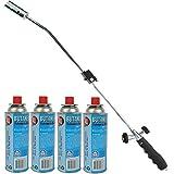 TronicXL Unkrautbrenner Gasbrenner Unkrautvernichter Brenner Abflammgerät Bajonettanschluss Piezo Zündung (Set Unkrautbrenner und 4 Gaskartuschen)