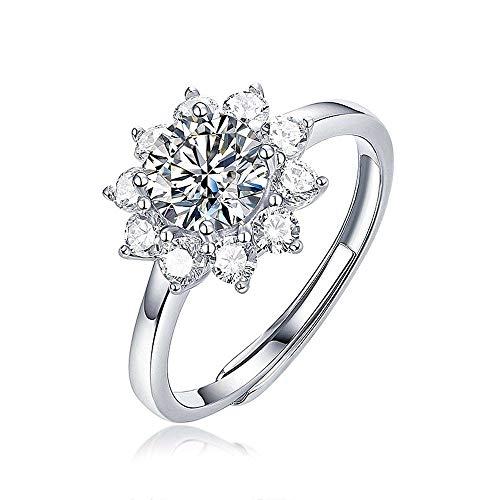 Anillo de plata de ley S925, flor de flores de Moissanita, diamante de 1 quilate, buena calidad 7A, anillo de joyería de mano para niña y mujer, regalo de aniversario de boda