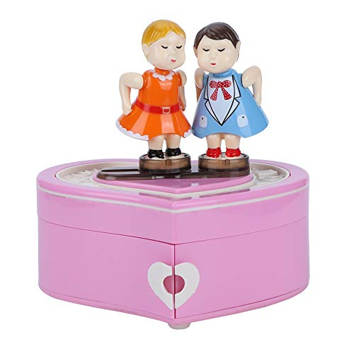 Oumefar Cute Lovely Kissing Lovers Caja de música Joyero Musical Regalo de cumpleaños Adorno para el hogar Decoración de Mesa para Navidad Regalos de San Valentín para(YL2034 Pink)