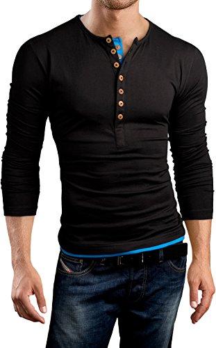 Grin&Bear T-Shirt à Coupe Slim et à col à Boutons, Manches Longues, Noir/Bleu, M, BH125