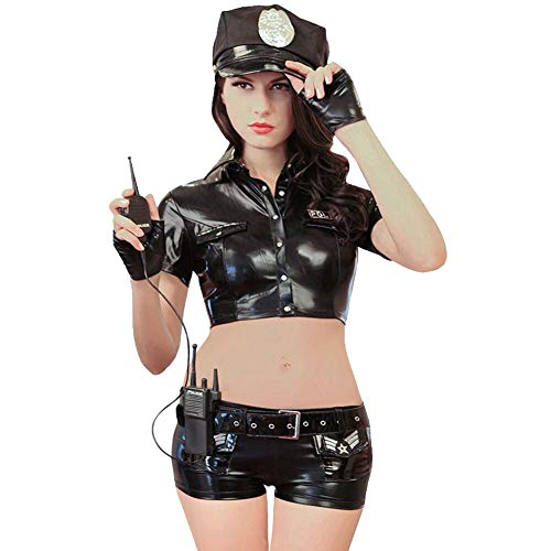 Esquki Women Police Costume Dirty Cop Sexy Police Officer Uniform Halloween Outfit (Large, Black)