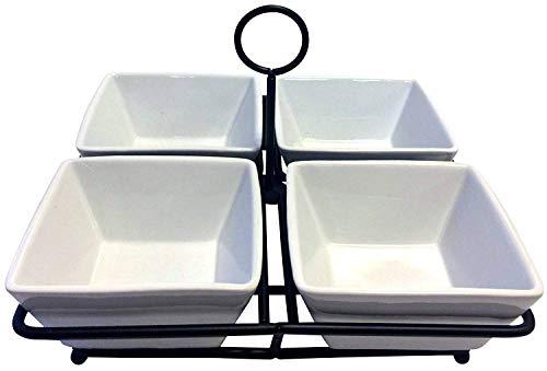 Partito Bella Geschirr-Set mit 4 Schüsseln, Porzellan, Keramik, Weiß, für Gewürze, Nüsse, Eis, Snacks, Süßigkeiten