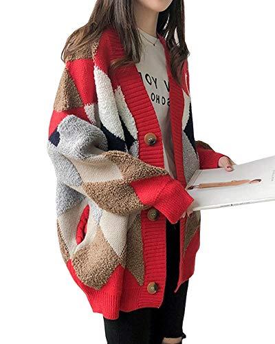 JudyRose カーディガン アウター レディース ニット 羽織り ボア トップス アーガイル Vネック おしゃれ 秋冬 フリーサイズ (レッド)