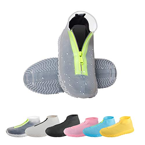 CHUHUAYUAN Waterproof Silicone Shoe Covers, Reusable Foldable Not-Slip Rain Shoe Covers with Zipper,Shoe Protectors Overshoes Rain Galoshes for Kids,Men and Women(1 Pair) (Transparent, L)