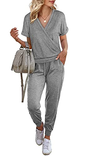 Womens Two Piece Outfits,Short Sleeve Loungewear for Women Summer Tops and Drawstring Pants with Pocket,Gray,M