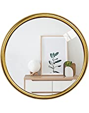 Ruidoz Wall Mounted Mirror Gold Metal Frame Mirrors Wall Mount Hook Offered for Home Décor 12 Inch 0930RZ