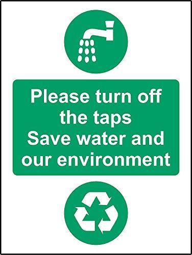 Schakel de kranen uit Bewaar water en ons milieu Veiligheidsbord - Zelfklevende sticker 300mm x 200mm