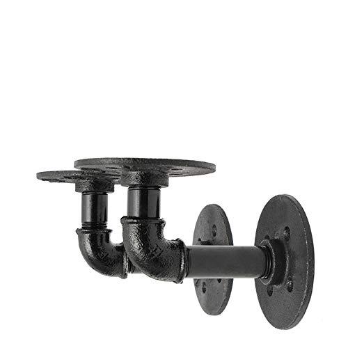 KING DO WAY Tubi di Ferro Mensola, Staffe e Supporti per Mensole, Staffe per Mensole con Stile Industriale Steampunk in Ferro per Mobili, Nero Retro (9 X 13 cm)