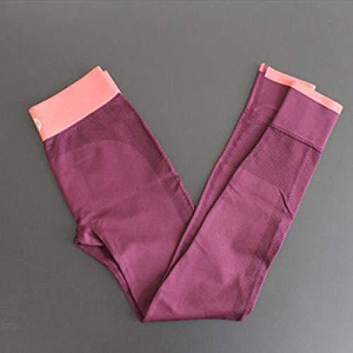 LYWZX Leggings De Yoga para Mujeres Pantalones De Yoga De Punto Tejidos Elásticos para Mujer Leggings Push Up De Cadera Leggings Deportivos Sin Costuras Leggins De Gimnasio Jogging -Purple_XL