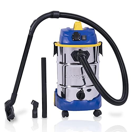 Goodyear Aspirador sin Bolsa Potente, seco y húmedo, 30 litros. para Coche y hogar Sistema de filtrado HEPA y función soplado. Cepillo para Suelo Incluido (30 litros)