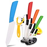Ceramic Knives, 5-Pack Colorful Kitchen Knife Set, Non-Stick Professional Chef Knives with Acrylic Block, Cutlery Slicing Bread Knife with Fruit Slicer for Kitchen Paring Dining Tables