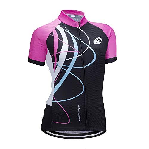 Damen Atmungsaktiv Schnelltrocknend Fahrradtrikot, Outdoor Kurzarm Radsport-Shirt, 0026, M