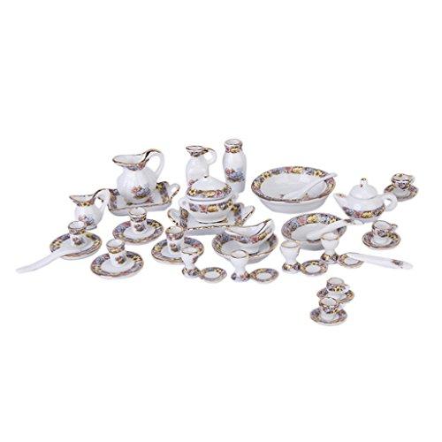 40-teilig 1/12 Puppenhaus Küche Porzellan Geschirr Zubehör - Miniatur Teekanne, Tassen, Kaffeetassen, Becher, Schüsseln, Löffel, Spatel usw.