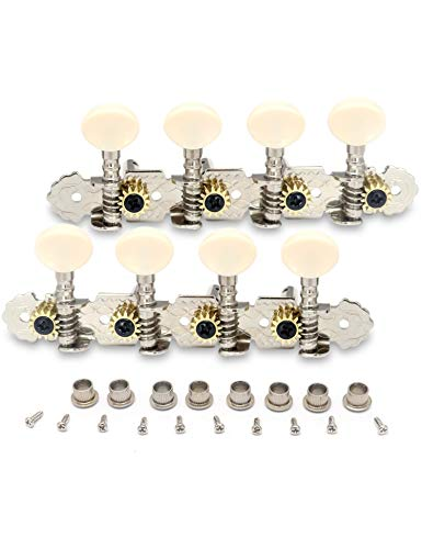 Yibuy 4R4L Silver Mandolin Tuning Pegs Tuners Set with White Buttons Set of 20