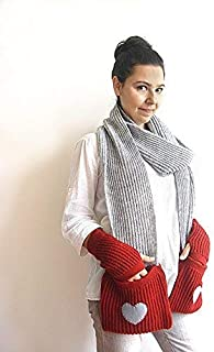 Set of Knitted Pocket Scarf & Hand Warmers with Heart