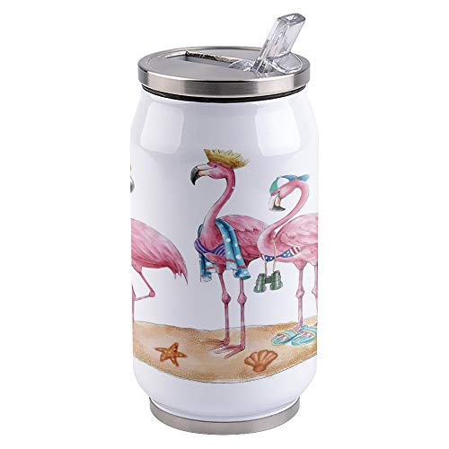 13.5oz Stainless Steel Liner Vacuum Tumbler Three Greater Flamingo On The Beach Thermal Insulation Vacuum Cup with Straw & Slider Lid Pink Portable Cola Can for Travel, Sports, Camping
