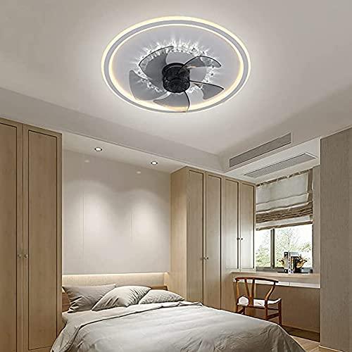 HHORB Ventilador Techo con Luz Y Mando A Distancia Reversible Silencioso Lampara Ventilador LED Techo 6 Velocidades Regulable Lampara Colgante Redondo para Salon Dormitorio Niño Cocina,Negro,Oro