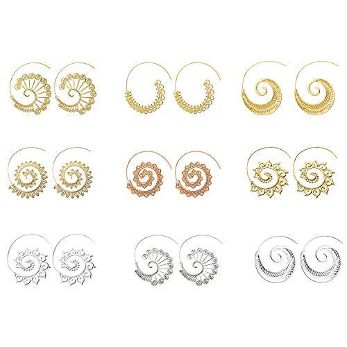 Boho schmuck, Comius 9 Pairs Spirale Ohrringe, Böhmische Vintage Tribal Swirl Spirale Creolen Set für Frauen (Golden + Silber)
