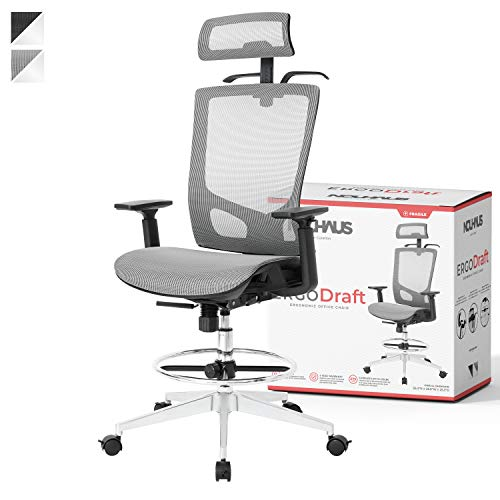 NOUHAUS ErgoDraft Drafting Chair, Tall Office Chair, Shop Stool Chair or Standing Desk Chair. Adjustable Chair (Grey)