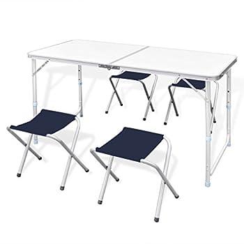 vidaXL Table Pliante de Camping Hauteur Ajustable avec 4 tabourets Table de Jardin