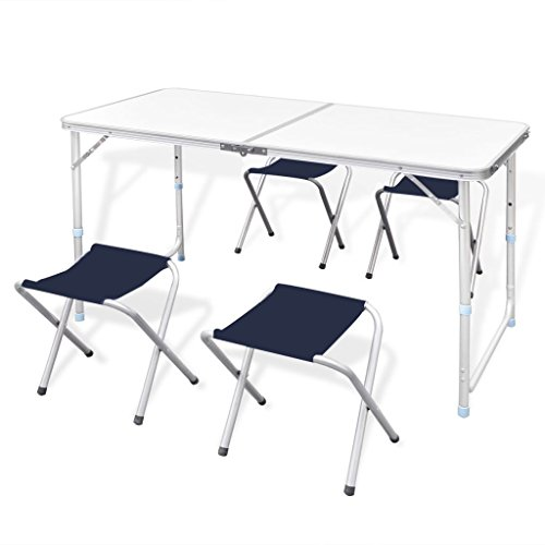 vidaXL Campingtisch Set mit 4 Hockern Klappmöbel Stühle Tisch Falthocker 120x60