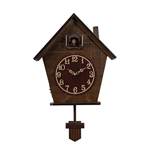 WANGXINQUAN Estadounidense creatividad personalidad vintage decoración regalos marrón circular cuco cuckoe casa tiempo de tiempo regulable volumen relojes relojes inteligente pared reloj columpio pénd